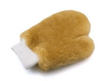 "Autobrite Direct - Luxury Soft Real Lambs Wool Car Wash Mitt - ""thumbed"""